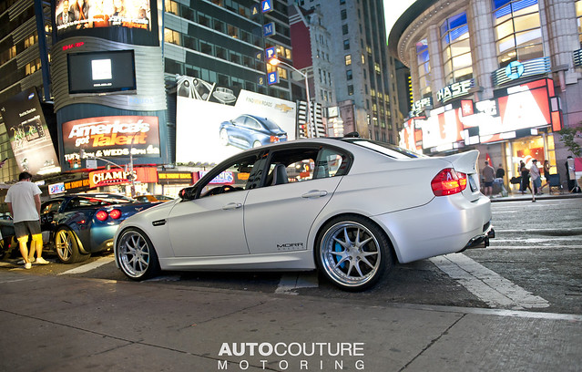 Eric's E90 with a fresh satin white vinyl wrap installed by AUTOCouture