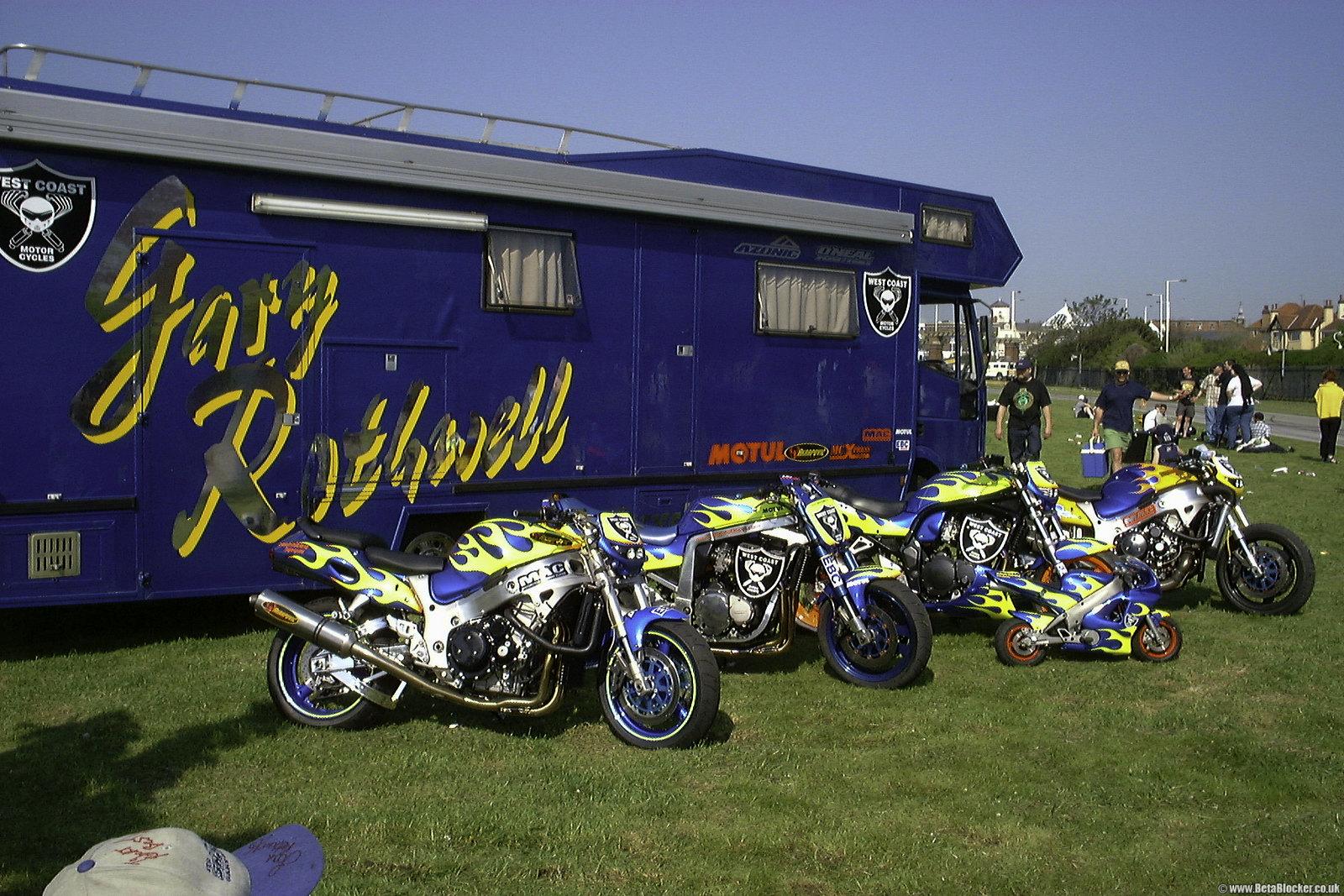 Gary and Joan Rothwell Southport motorcycle line up, Suzuki Hayabusa GSX1300R , Suzuki GSXR1100, Suzuki GSF1200, Pocket Bike, Suzuki GSX1300R Turbo