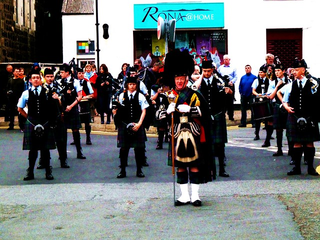 Isle of Skye Pipe Band at Portree, Scotland