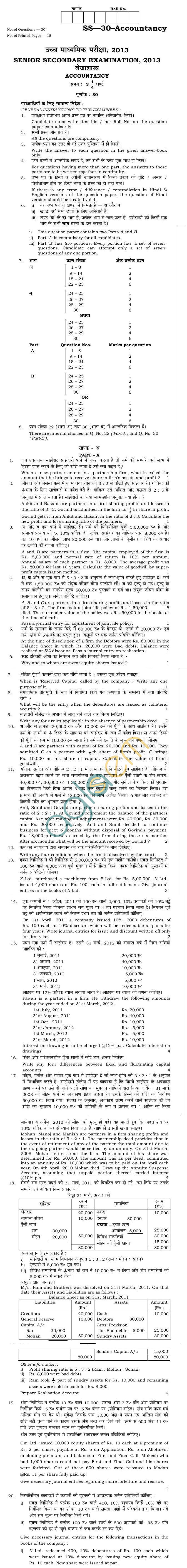 Rajasthan Board Sr. Secondary Accountancy Question Paper 2013