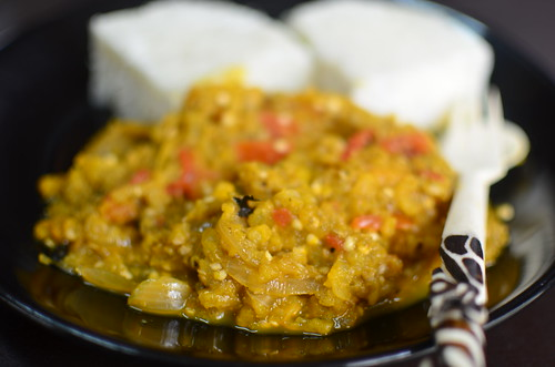 Garden Egg Sauce with boiled yam