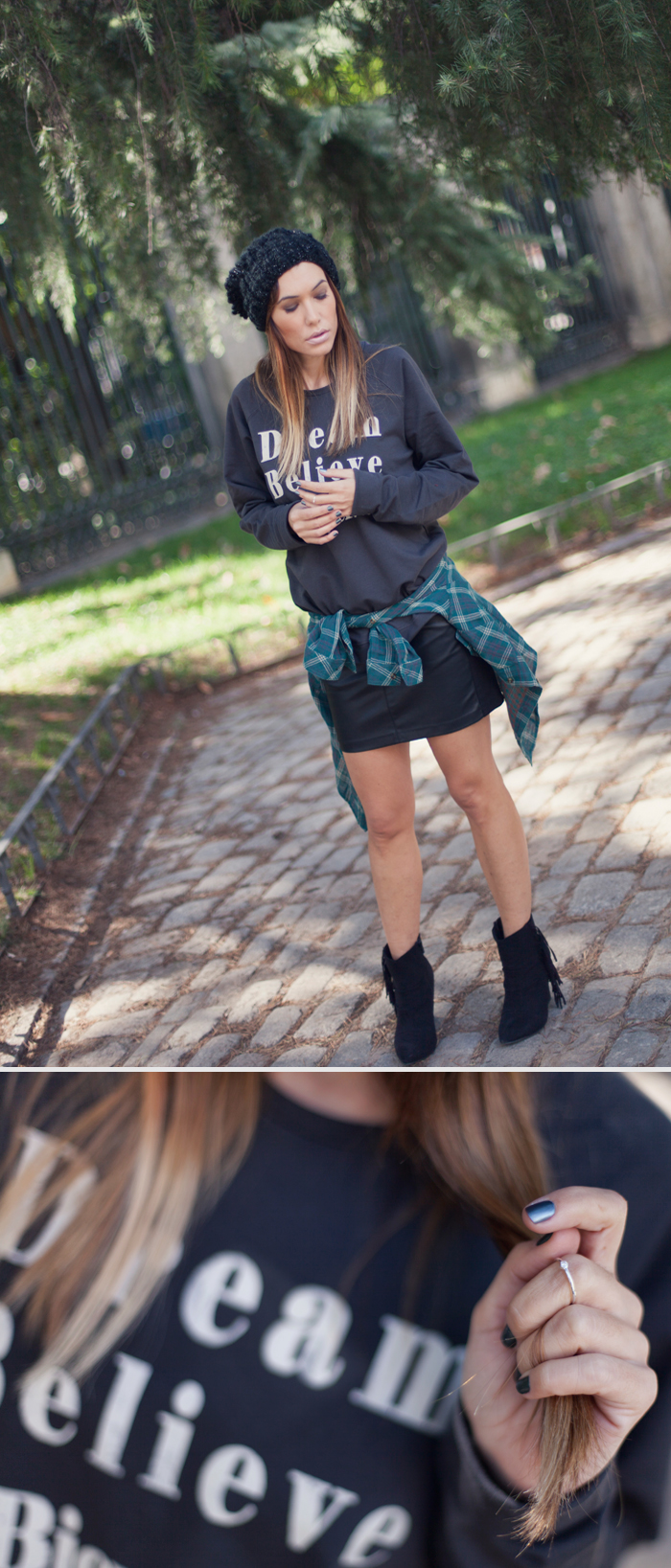 street style barbara crespo dream believe a bicyclette sweatshirt botanical garden madrid outfit