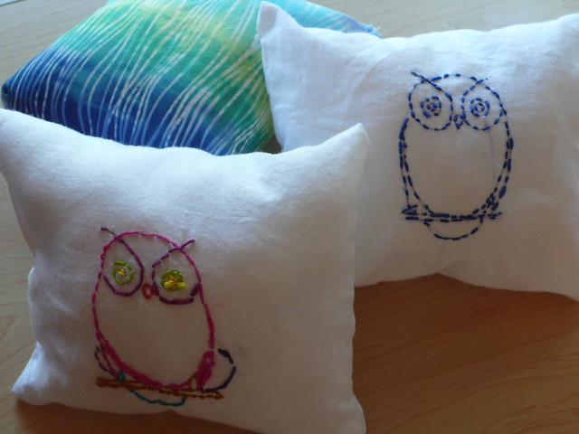 Sewing class: hand embroidered pillows