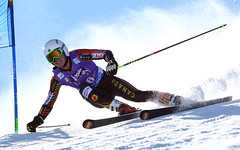 Mielzynski in action during the giant slalom in Solden, AUT