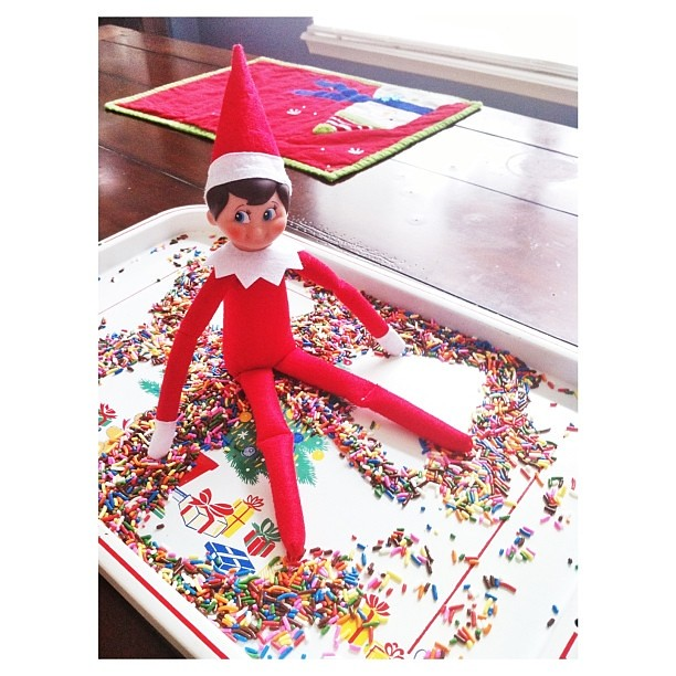 Snowflake misses the snow. So, he found whatever he could to make snow angels. Sprinkles. :: My son thinks its weird he's going through our stuff. ☺ :: #jbelfontheshelf #elfontheshelf #elftakeover