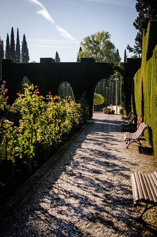 A peaceful spot in the lower Generalife gardens of the Alhambra complex in Granada, Spain.