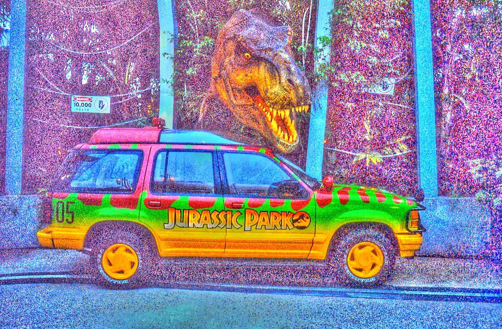 SUV of Jurassic Park at Universal Studios