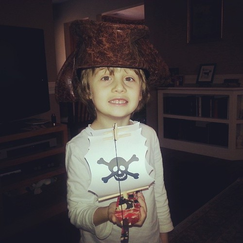 He's pretty proud of the pirate ship he built and printed!