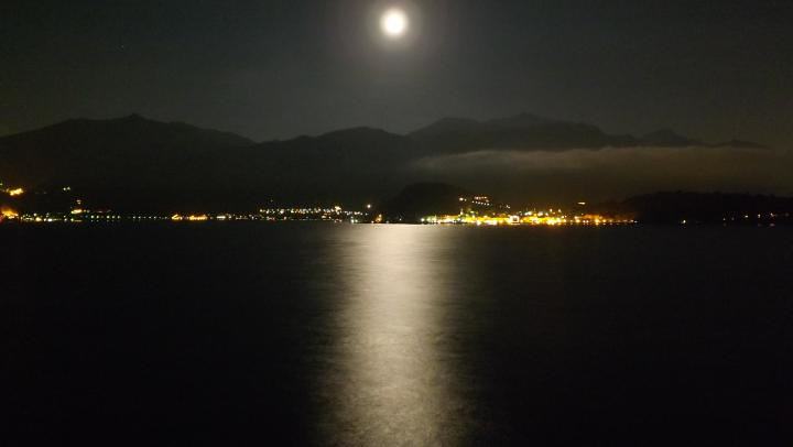Lake Como by Night - Moon Reflected over the Water