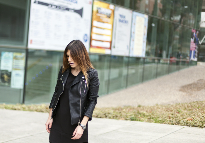 street style barbara crespo black and leather zara fashion blogger outfit
