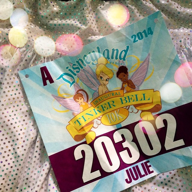 "A little @sparkleathletic for the @rundisney #tink10k tomorrow! Super excited that I am in ""A"" Corral! Yippee! #rundisney #teamsparkle #tinkhalf #instarunner"