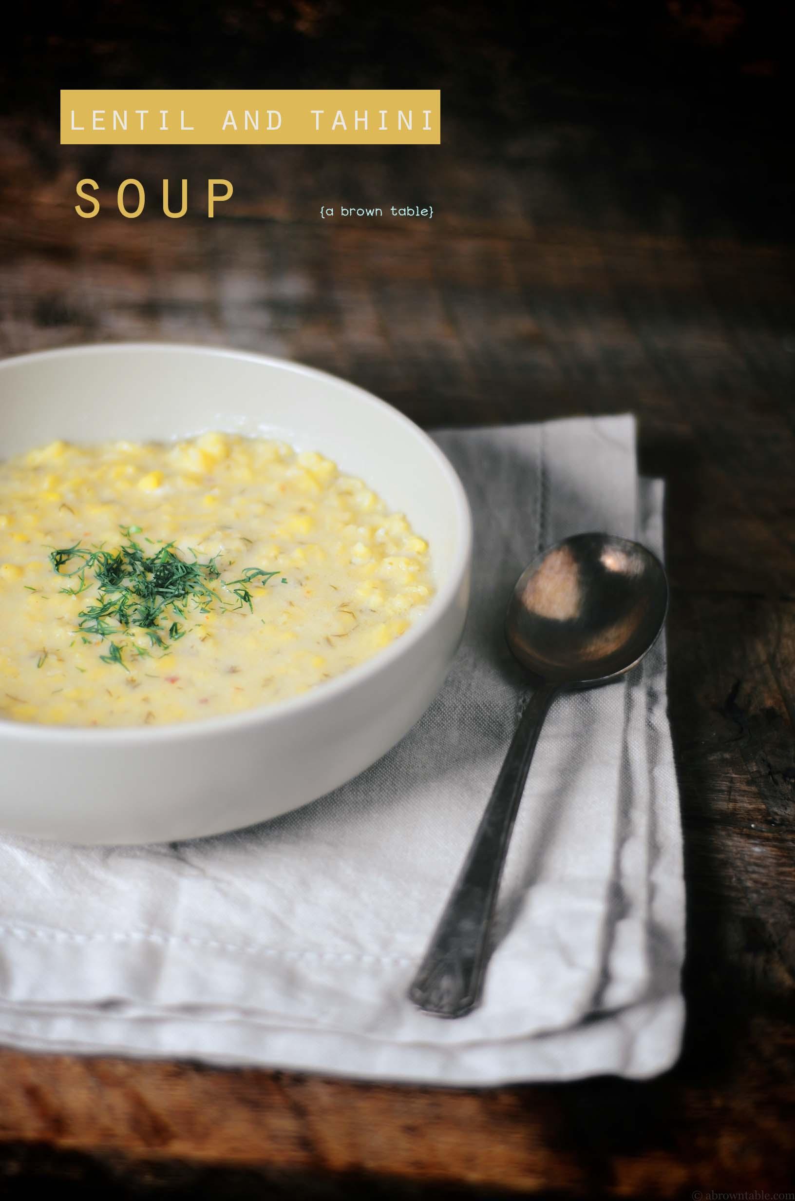 lentil tahini soup