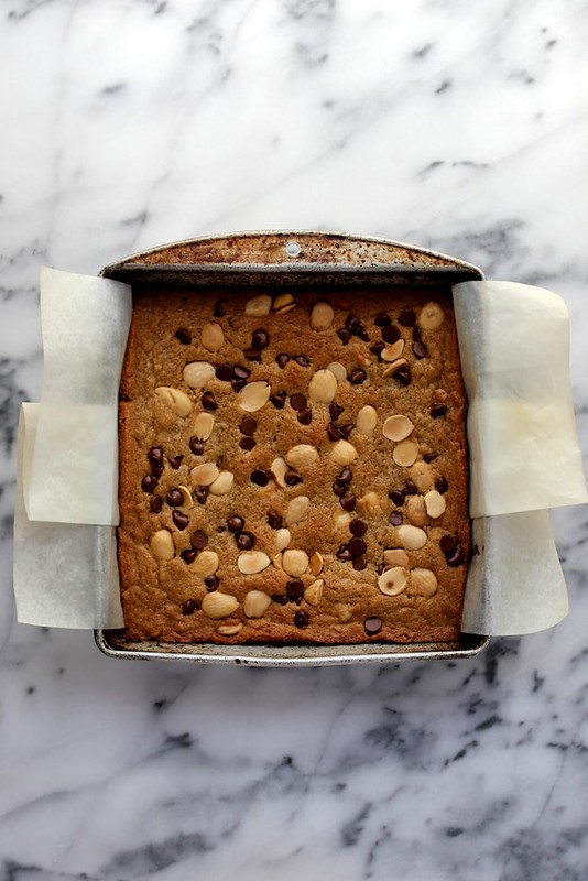 marcona almond and chocolate chip blondies
