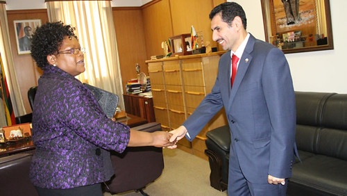 Vice-President of Zimbabwe Joice Mujuru welcomes Kuwait Ambassador Ahmed-Al-Jeeran. Mujuru was acting president while Mugabe attended the AU Summit in Ethiopia. by Pan-African News Wire File Photos