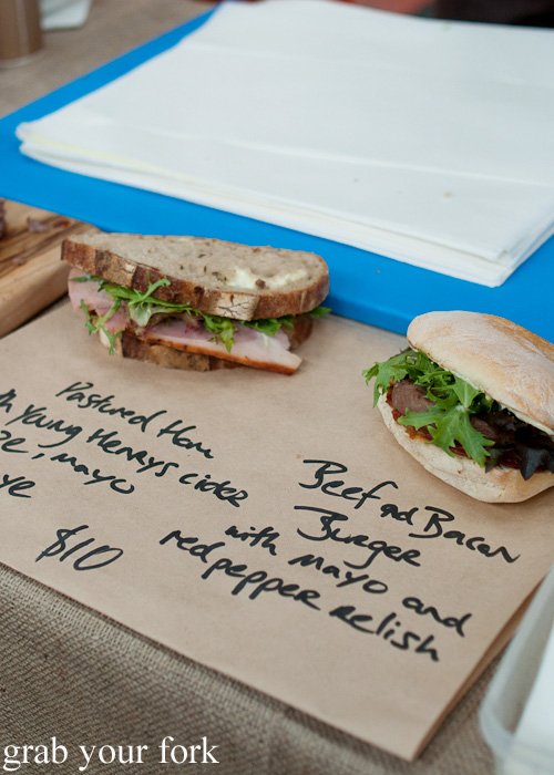Pastured ham sandwich and beef and bacon burger by Feather and Bone at the Sunday Marketplace, Rootstock Sydney 2014