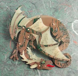 horned circuit dragon - brooch