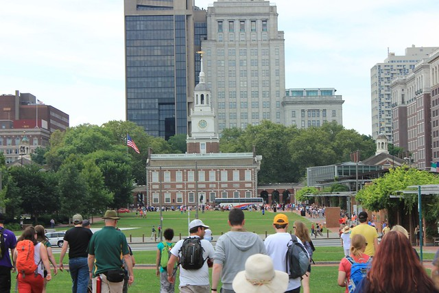 Picture of the group walking towards Independence Hall