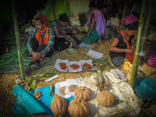 The barter trade begins the next morning. People from the plains exchange pithas (traditional Assamese rice cakes), chira (flattened rice), fish and other eatables with Jhum ginger, turmeric, chilly, herbs among others with those from the hills- a unique ritual that has kept alive a feeling of give and take while money changed hands in nearby stalls, a few metres away.