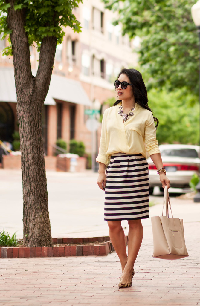 cute & little blog | petite fashion | spring outfit | yellow surplice silk top, black white striped skirt, crystal flower statement necklace, leopard pumps