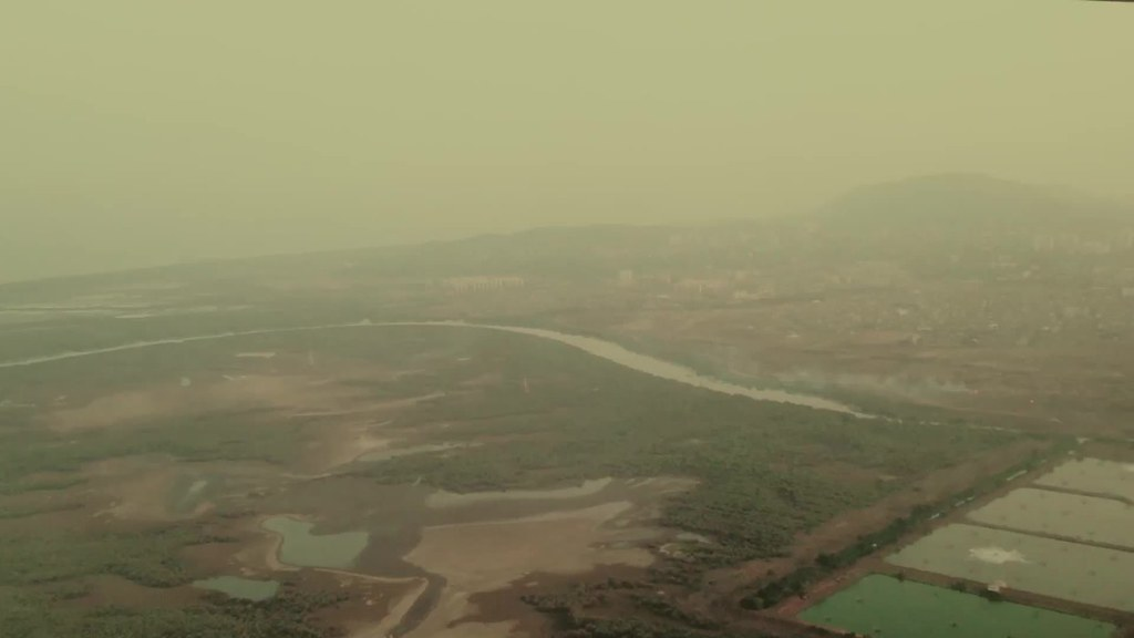 Landing in Mumbai, India on a hazy morning
