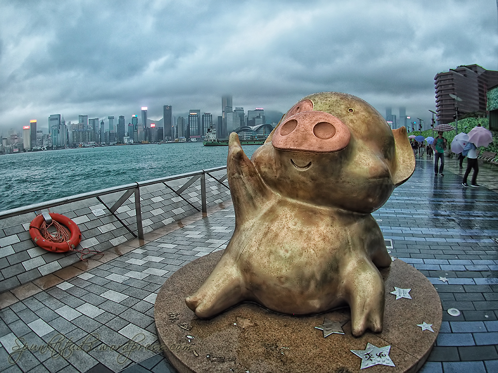 Golden Pig at Avenue of Stars, Hong Kong