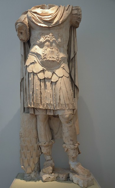 Statue probably of Marcus Aurelius, erected in the east monopteral naiskos of the Nymphaeum of Herodes Atticus at Olympia, dating from between 149 and 153 AD (posthumous), Olympia Archaeological Museum, Greece