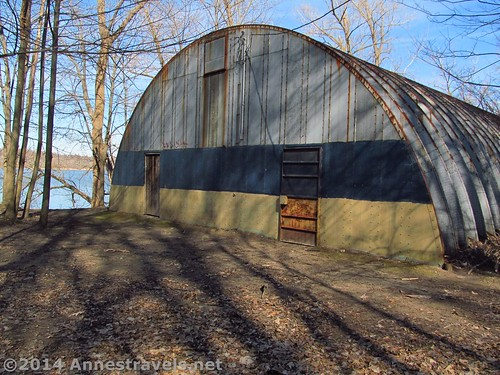 The old metal building by Irondequoit Bay in Abraham Lincoln Park, Webster, New York