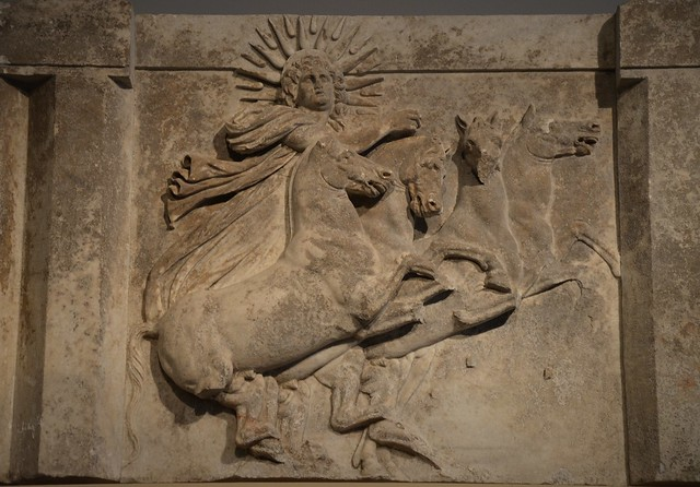 Architrave with sculpted metope depicting the Sun God Helios in quadriga, from the Temple of Athena at Ilion/Troy (Schliemann's excavation 1872), 300-280 BC, Altes Museum