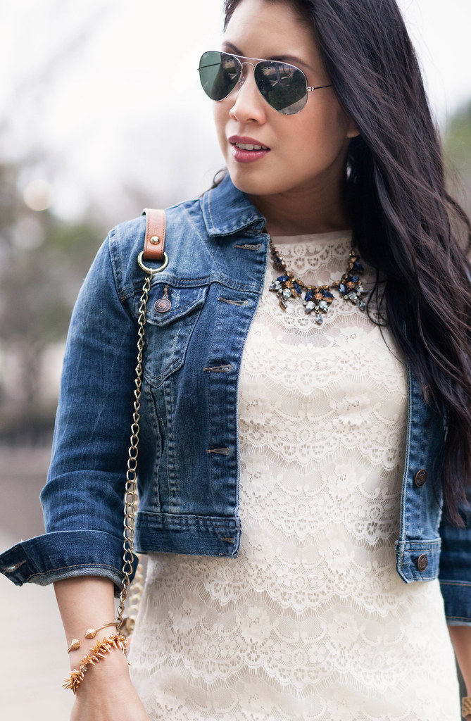 https://cuteandlittle.com | petite fashion blog | cropped denim jacket, lace sheath dress, statement necklace, ray-ban silver mirrored aviators outfit