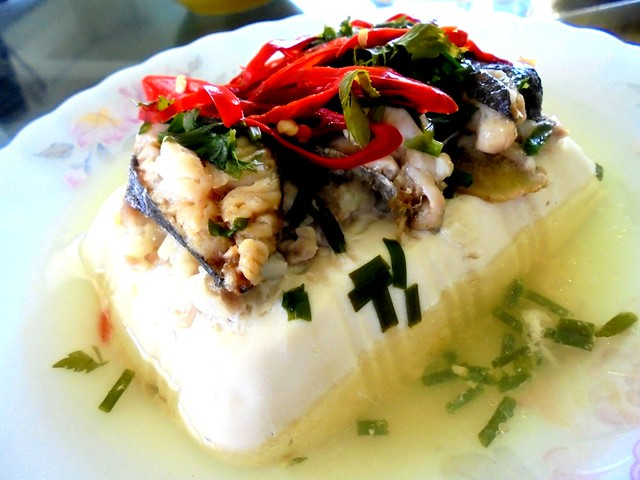 Steamed tofu with salted fish