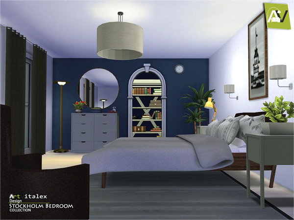The sims 4 custom content stockholm bedroom set sims for Bedroom designs sims 4