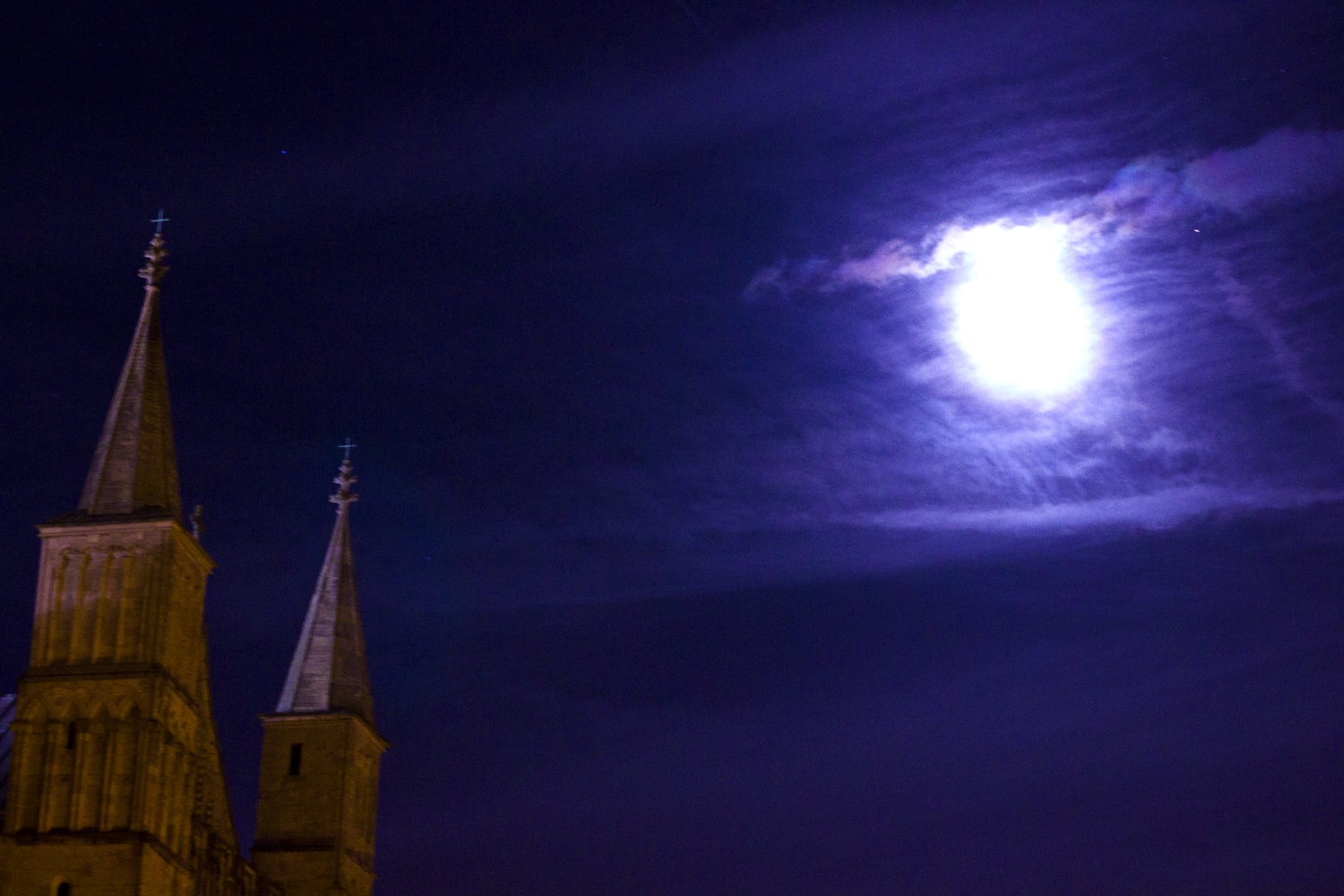 gloucester castle cathedral full moon nighttime blue midnight purple