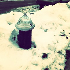 "My ""snowmeter"" is still buried in snow but I think you can see that the pavement and the street are clear -- for now.  Rain later and snow tomorrow.. Will it ever end?  Spring, where art thou? #firehydrantinthesnow #firehydrant #winter #winterinnewyork #s"