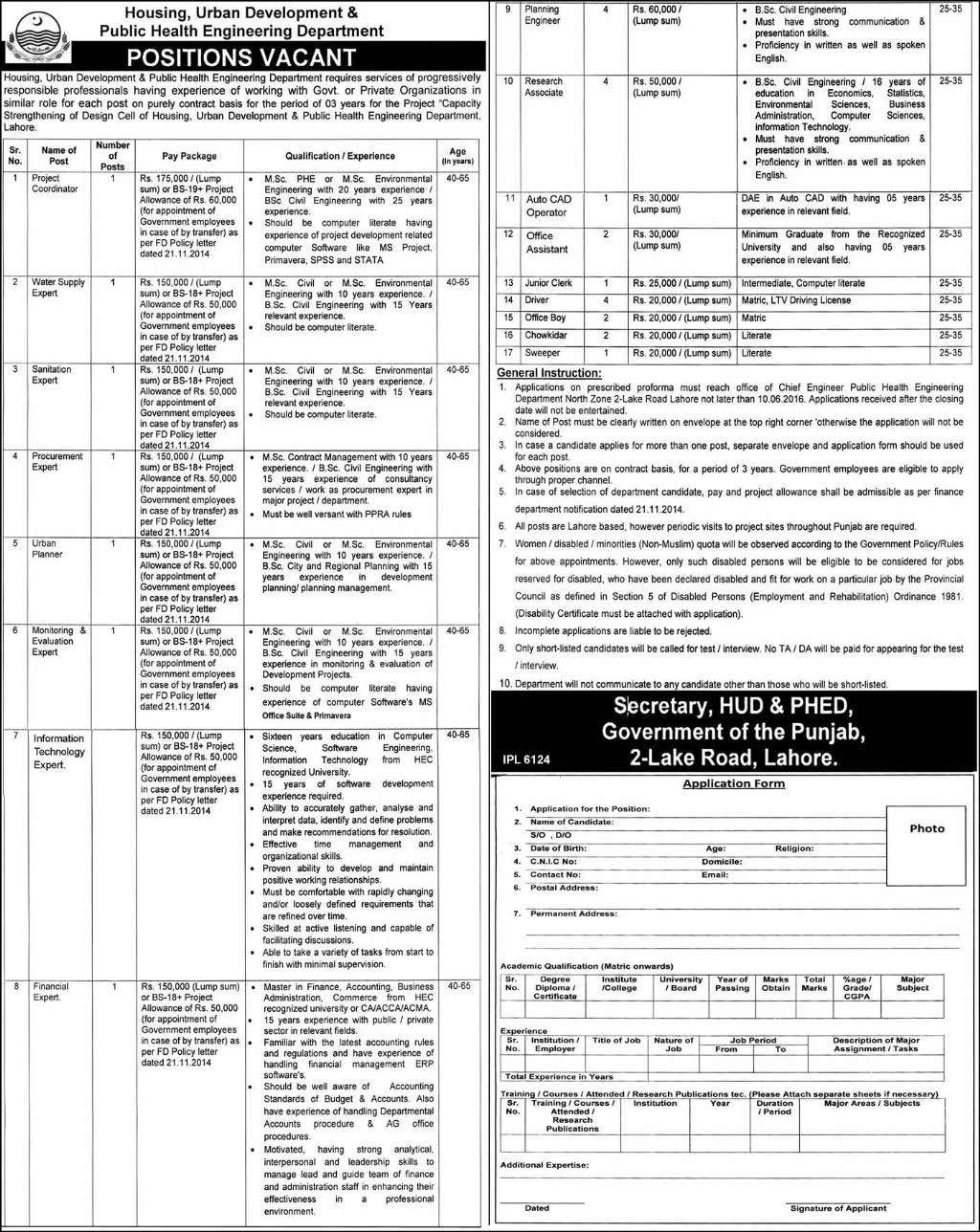 Housing Urban Development and Public Health Engineering Department Jobs