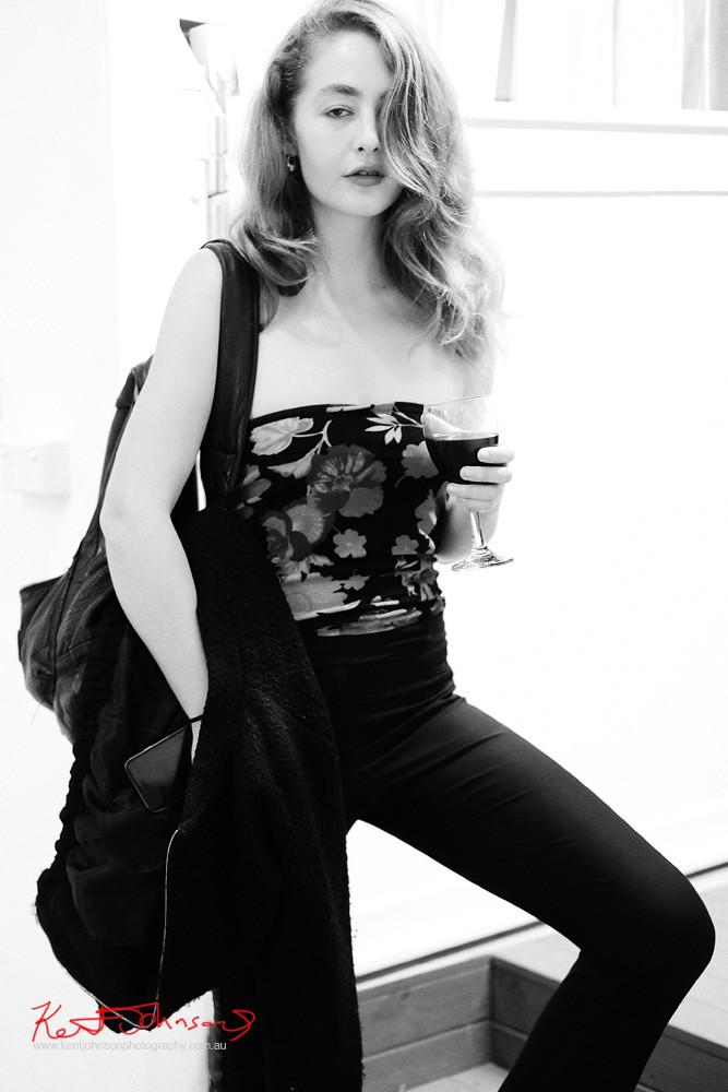 Floral top & Black Dress pants.