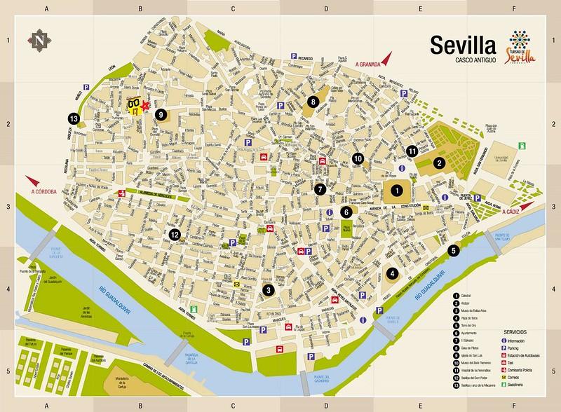 sevilha mapa Visitar Sevilha   Cidade, Guia de Viagem e Roteiros sevilha mapa