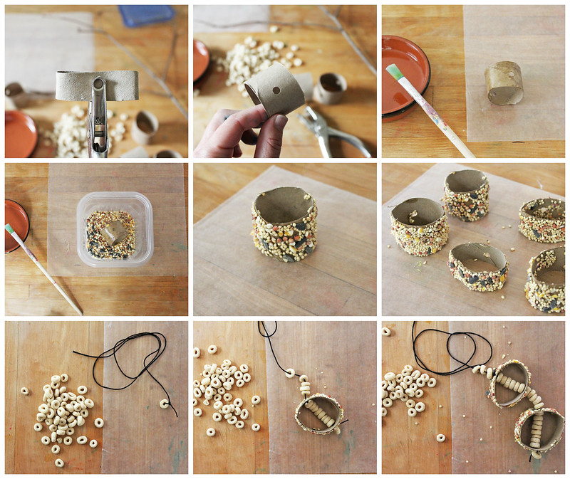 Make a Recycled Bird Feeder Mobile with a few items you already have on hand!