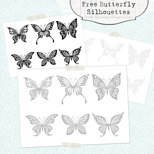 Free Butterfly Silhouettes (in 6 styles & three shades of grey to black) - Preview