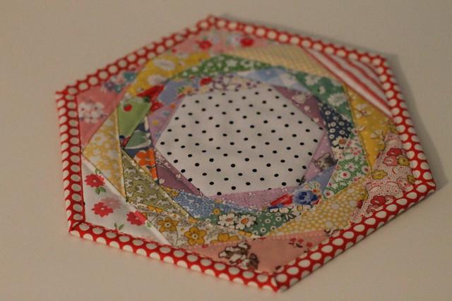 Rainbowed Happy Hexagon Trivet