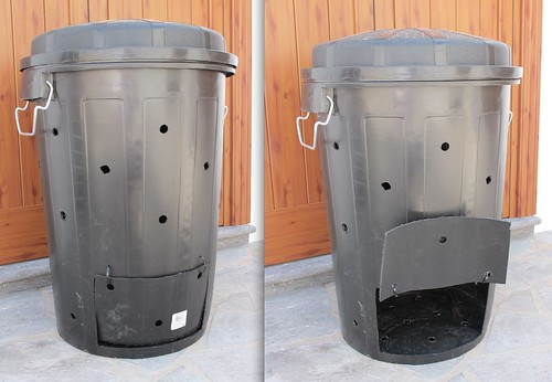 C mo hacer una compostera con un cubo pl stico un tipo en una seta - Como hacer compost en casa ...