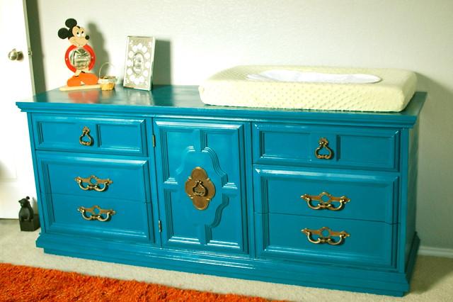 true color teal dresser