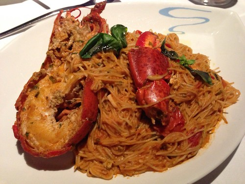 Tagliolini: Thin Pasta with Boston Lobster, Sun-Dried Tomato, Italian Basil with White Wine & Tomato Sauce