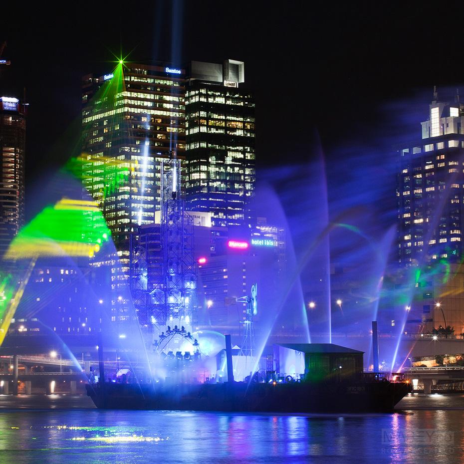 Brisbane Festival's 'City of Light' show illuminates the Brisbane River.
