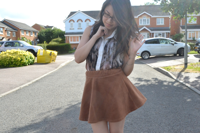 Daisybutter - UK Style and Fashion Blog: what i wore, lashes of london, printed shirts, SS13, british style