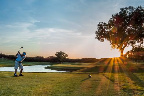 sunset sky sun tree water clouds golf tee teeshot mygearandme