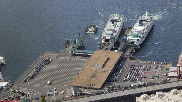 MV Walla Walla unloading at Slip 2 and MV Tacoma unloading in Slip 3, Seattle - Washington State Ferries