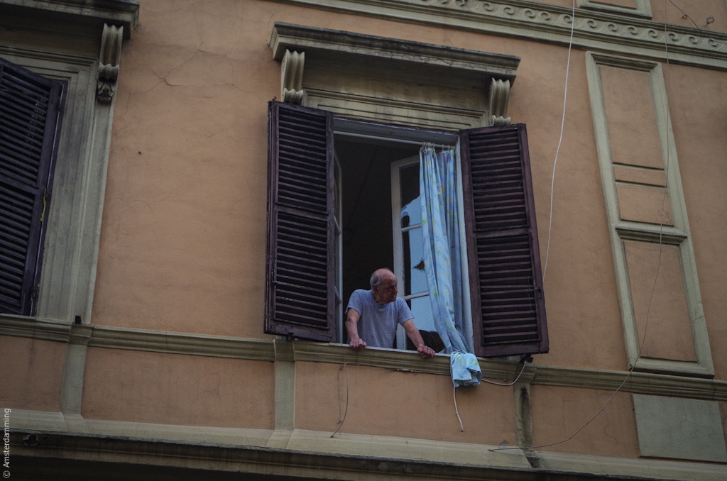 Rome, Man at Window in Testaccio