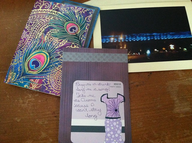 Cards and a Pretty Purple Dress