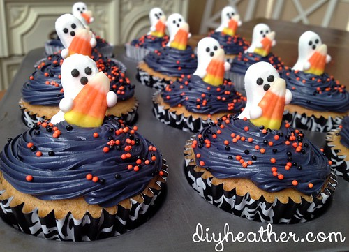 Sweet Ghost Cupcakes by Heather Says