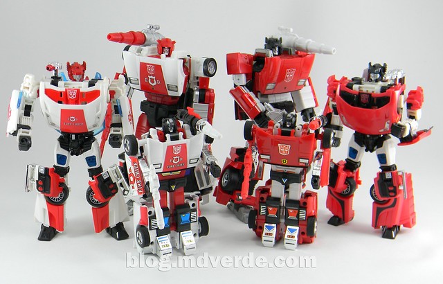 Transformers Red Alert - Masterpiece - modo robot vs otros Lamborghinis